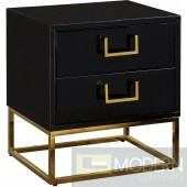 Marlene Nightstand Side Table Black & Gold
