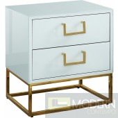 Marlene Nightstand Side Table White & Gold