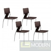 Zuo Modern 4-piece Espresso Brown Trafico Dining Chair Set LOCAL DMV DEALS