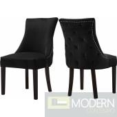 Belle Black Velvet Dining Chair Set of 2 - Instore Item DMV deals
