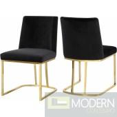 Helena black Velvet dining chair - SET OF 2- Instore Item