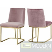 Helena Pink Velvet dining chairs - Set of 2