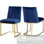 Helena Blue Velvet dining chairs - Set of 4