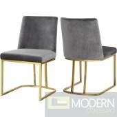 Helena Grey Velvet dining chairs - Set of 4