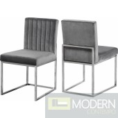 Jean-Marie Velvet dining chair Set of 2 - Chrome Instore Item DMV deals