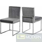 Jean-Marie Grey Velvet dining chair Set of 2 - Chrome Instore Item DMV deals