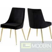 Lusso Velvet gold Dining Chair - Set of 2 (many colors)
