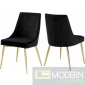 Lusso Velvet gold Dining Chair - Set of 2 Black LOCAL DMV DEALS