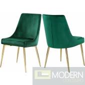 Lusso Velvet gold Dining Chair - Set of 2 Green LOCAL DMV DEALS