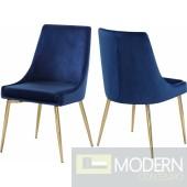 Lusso Velvet gold Dining Chair - Set of 2 NAVY LOCAL DMV DEALS