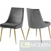 Lusso Velvet gold Dining Chair - Set of 2 Grey  LOCAL DMV DEALS