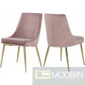 Lusso Velvet gold Dining Chair - Set of 2 Pink  LOCAL DMV DEALS