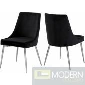 Lusso Black Velvet chrome Dining Chair - Set of 2