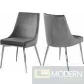 Lusso Grey Velvet chrome Dining Chair - Set of 2
