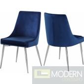 Lusso Velvet chrome Dining Chair - Set of 2 (many colors)
