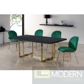 Set of 4 Green Velvet accent chairs with Gold legs