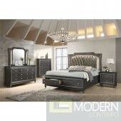 Modern Glam Metallic Gray  Upolstered PU Style with LED Lighting on Headboard Set MCNJ1006