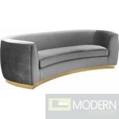 Grey Velvet Half moon Curved Sofa