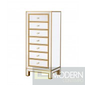 Bellini Mirrored Lingerie Chest 7 drawers Antique gold