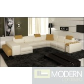 Modern Leather Sectional Sofa with Lights-MCNV107