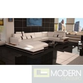 Modern Leather Sectional Sofa with Lights-MCNV205