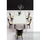 Farrera - Modern Italian Style Dining Table - Solid Wood with Tempered Glass Top