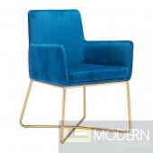 Zuo Modern Honoria Arm Chair, Dark Blue/Gold LOCAL DMV DEALS