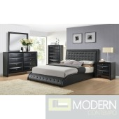 Contemporary Upholstered Bed in Black Leatherette
