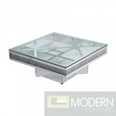 "Terza 39"" crystal mirrored coffee table"