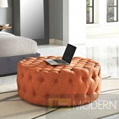 Orange Amour Tufted fabric Ottoman