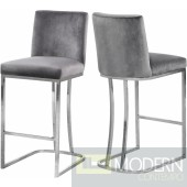 Helen Grey velvet bar stools