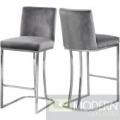Helena Grey velvet bar stool Chrome Instore Item DMV deals