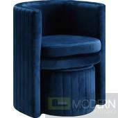 Selena Velvet Accent Chair and Ottoman.