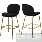 Petal Black Velvet Counter Stool GOLD - Set of 2