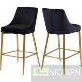 Black Lusso Velvet Counter Bar stools - Set of 2 GOLD  Instore Item DMV deals