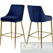 Navy Lusso Velvet Counter Bar stools - Set of 2 GOLD  Instore Item DMV deals