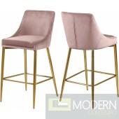 Pink Lusso Velvet Counter Bar stools - Set of 2 GOLD  Instore Item DMV deals
