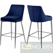 Lusso Velvet Counter Bar stools - Set of 2 chrome. Instore Item DMV