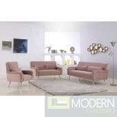 Clarissa Sofa 607 in Pink Velvet Fabric w/Options