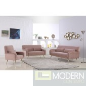 Clarissa Sofa 607 in Pink Velvet Fabric by Meridian w/Options