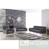Clarissa Sofa 607 in Grey Velvet Fabric  w/Options