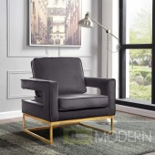 Athena Grey Velvet Accent chair gold base INSTORE ITEM LOCAL DMV DEALS