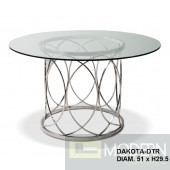"Masters Modern Round 60""Glass Table with Hand Polished Stainless Steel base"