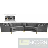 Jessie 2pc velvet Sectional GREY