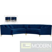 Jessie 2pc velvet Sectional NAVY