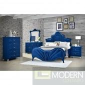 Imperial Blue Velvet Upholstered Bed