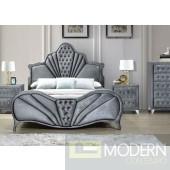 Imperial Grey Velvet Upholstered Bed