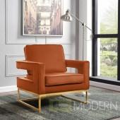Athena Cognac Velvet Accent chair gold base INSTORE ITEM LOCAL DMV DEALS
