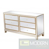 "60"" Bellini Mirrored Dresser Antique Gold"