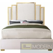 Hugo King Cream Velvet Upholstered Bed LOCAL DMV DEALS